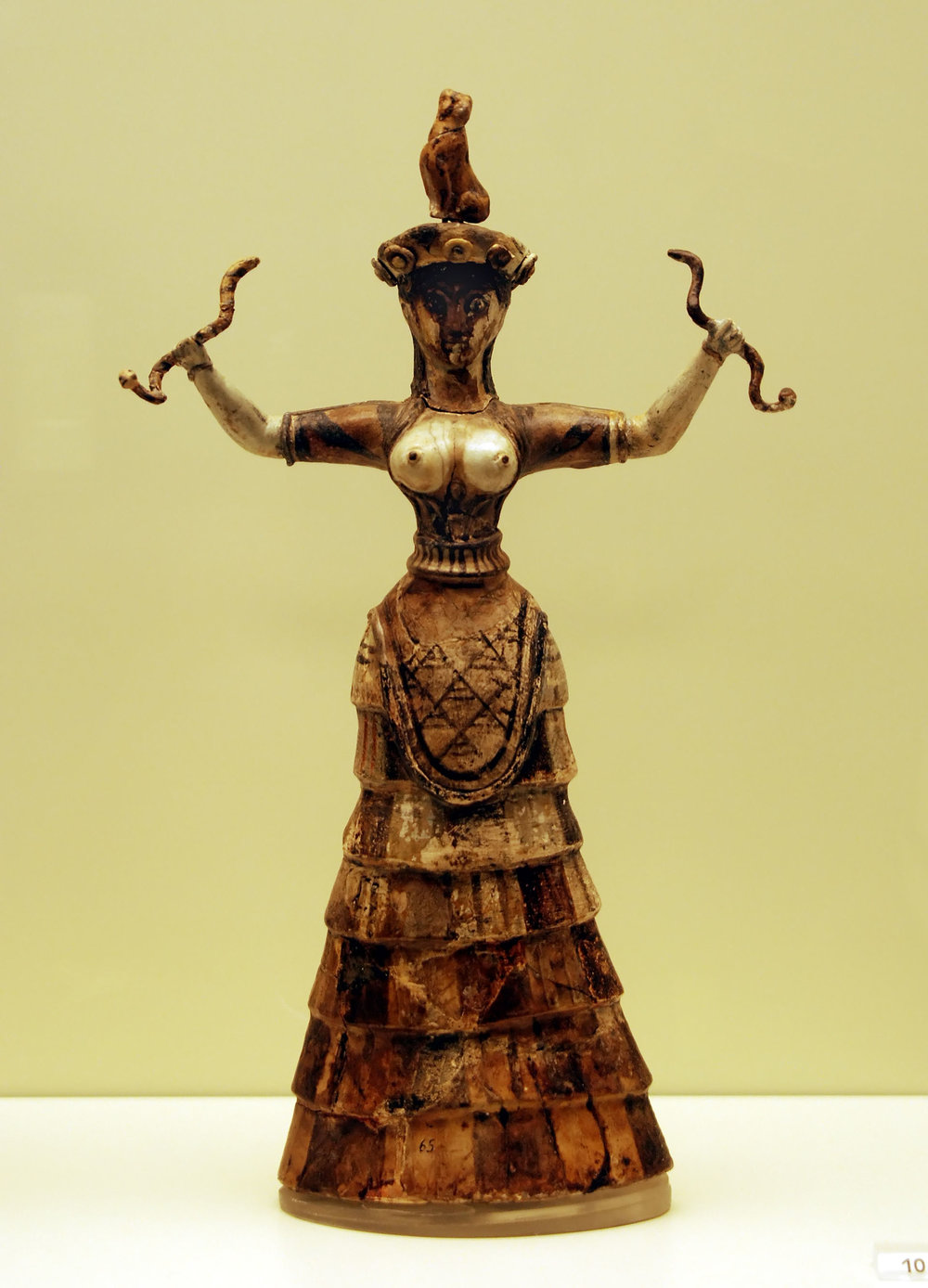 Strophion on Faience Figurine of the Snake Goddess, Ancient Crete