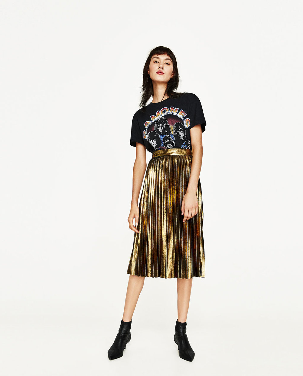 Zara Lame Pleated Midi Skirt