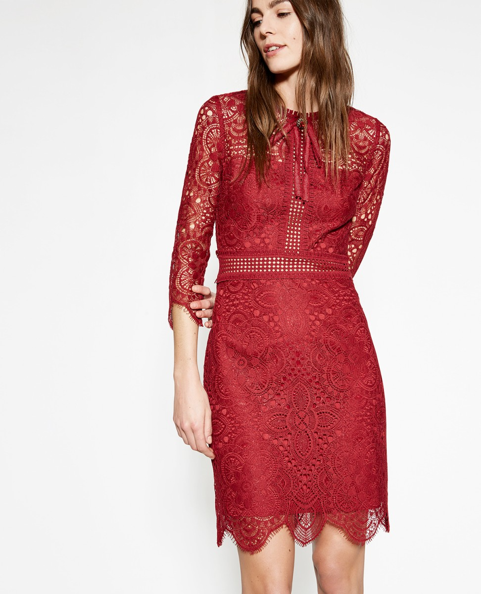The Kooples Burgundy Dress with Embroidered Lace