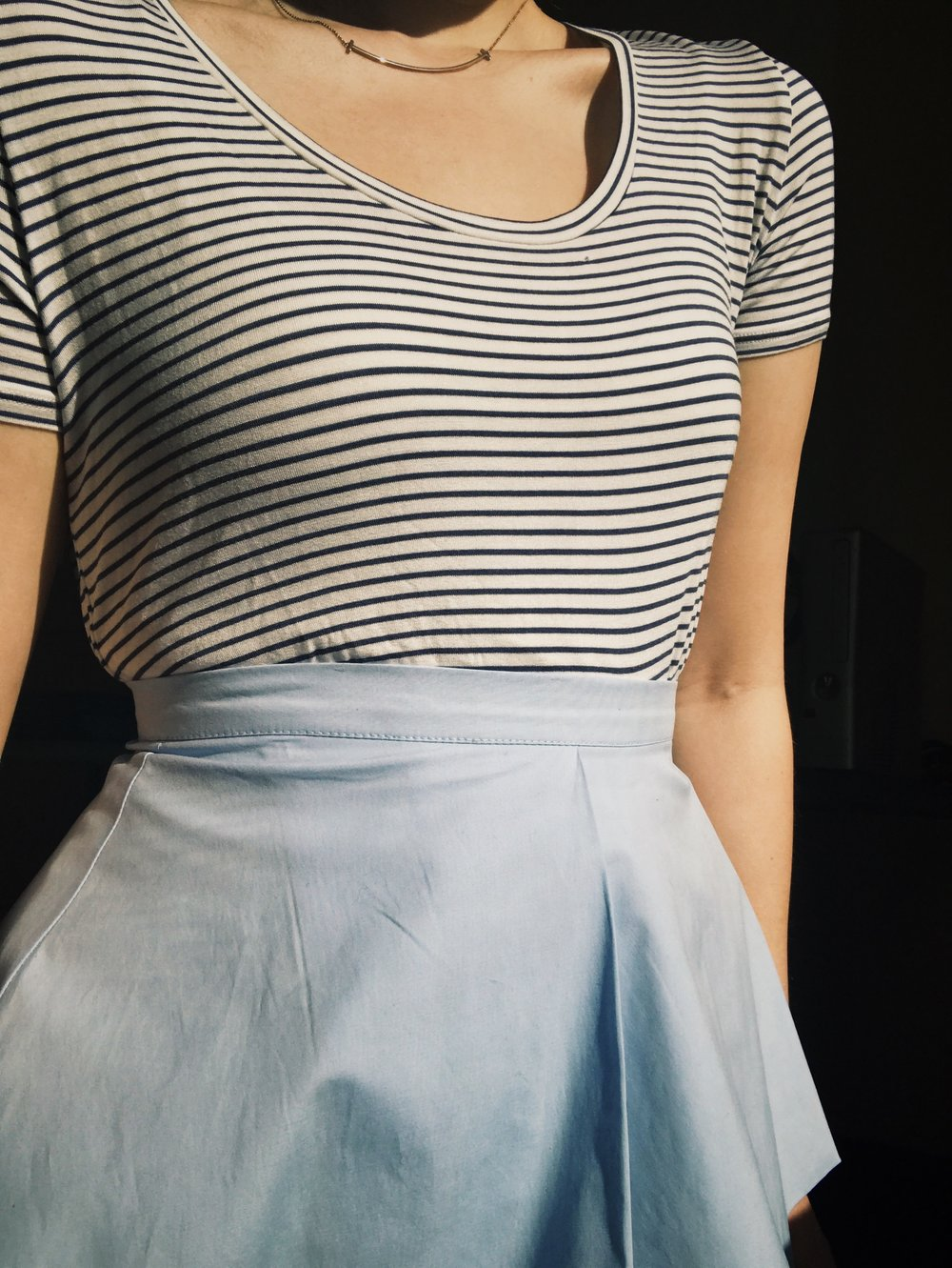 Blue skirt and hardy stripe