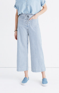 Madewell Lace Up Wide Leg Crop Pant in Poppy Stripe