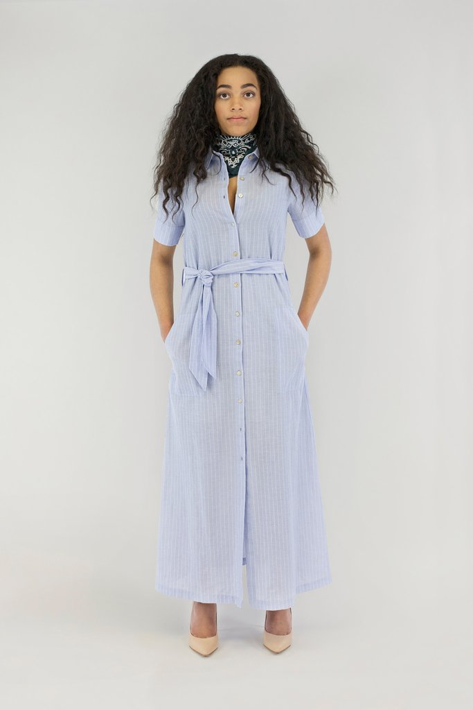 Chan Luu Light Blue Cotton Striped Shirtdress