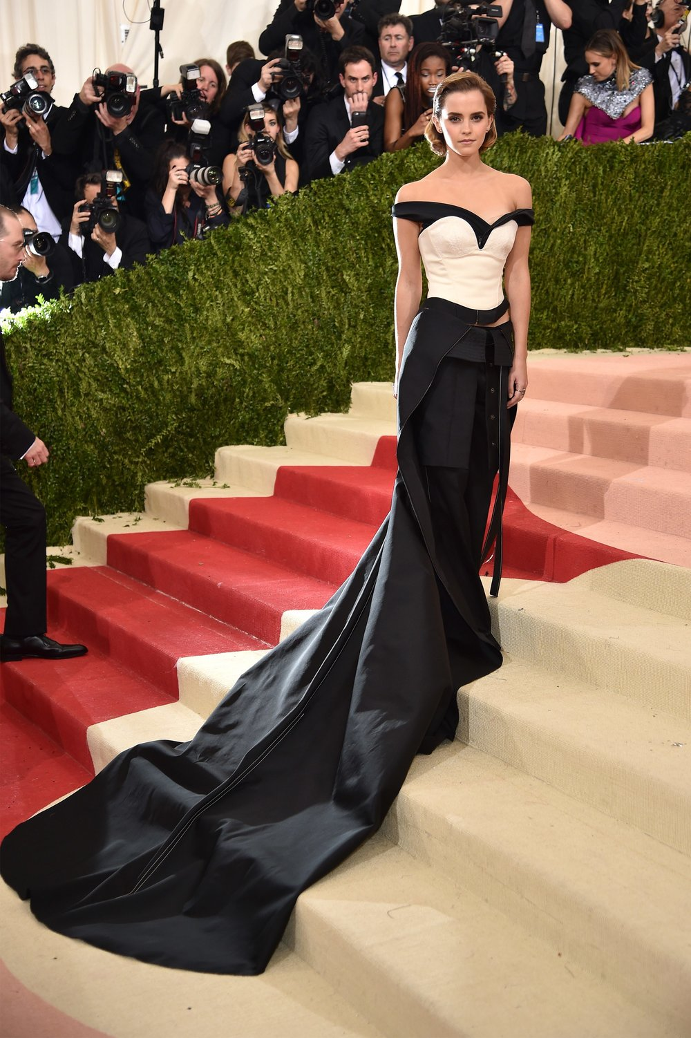 Emma Watson at the 2016 Met Gala in a Calvin Klein dress made almost entirely of recycled bottles. With sustainability in mind, Watson has long been a fan of eco-friendly clothing.