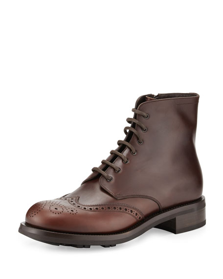 Prada Gradient Leather Lace Up Wing-Tip Boot