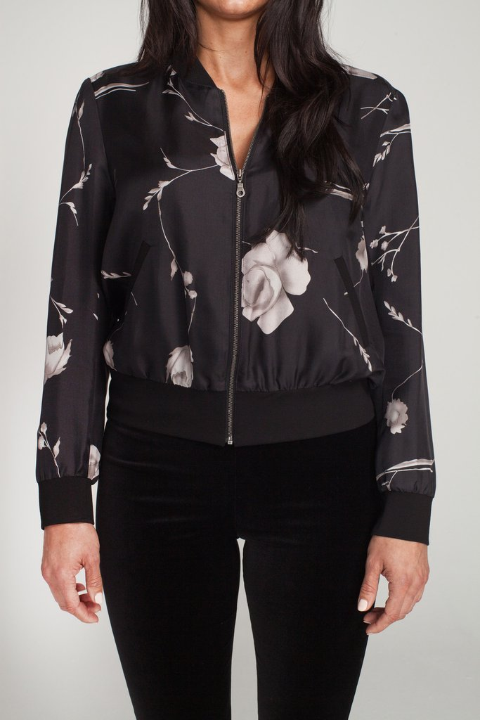 Drew - Black Floral Silk Bomber