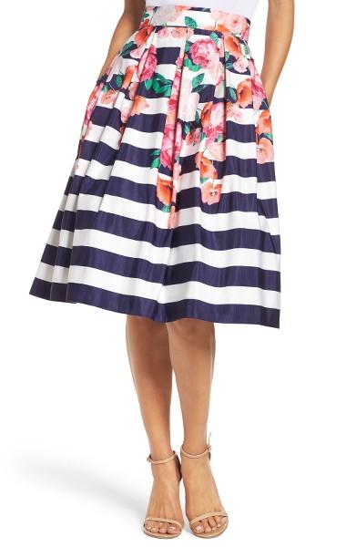 Eliza J - Floral Strip Midi Skirt