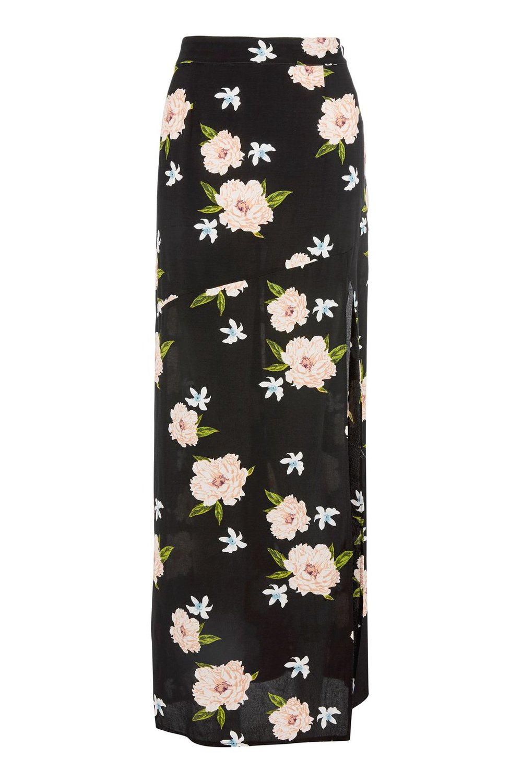 TopShop - Black Split Floral Print Maxi Skirt