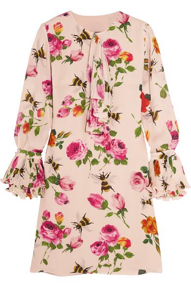 Gucci - Ruffled Printed Silk Crepe de Chine Mini Dress