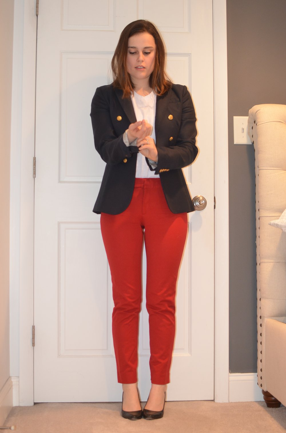 White T shirt (same as all of the other pictures. My husband only wears the one brand). Trousers are from Banana Republic - Sloane pant. Heels - Cole Haan. Blazer - Also Banana Republic.