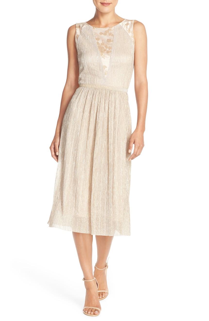 Tahari - Metallic Pleated Midi Dress