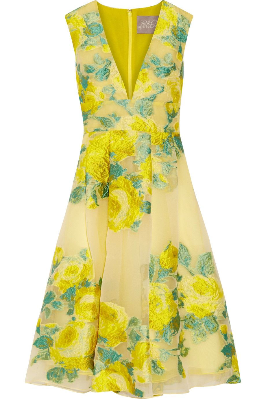 Lela Rose - Pleated Floral Fil Coupé Organza Dress