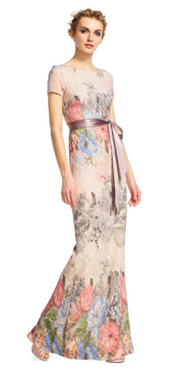 Adrianna Papell - Floral Matelasse Gown