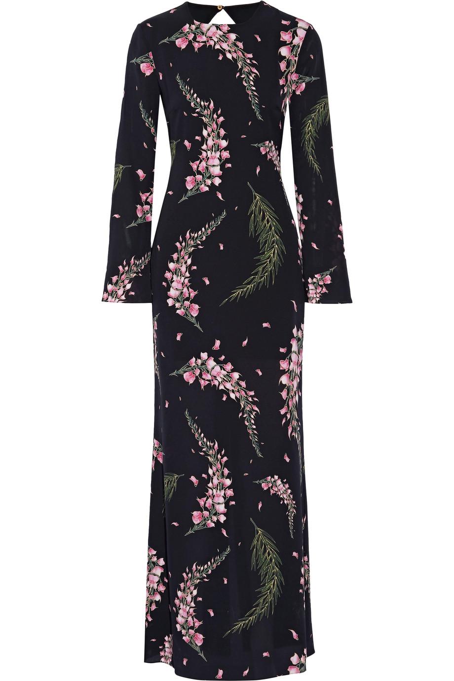 Rachel Zoe - Open-Back Floral-Print Silk-Georgette Gown