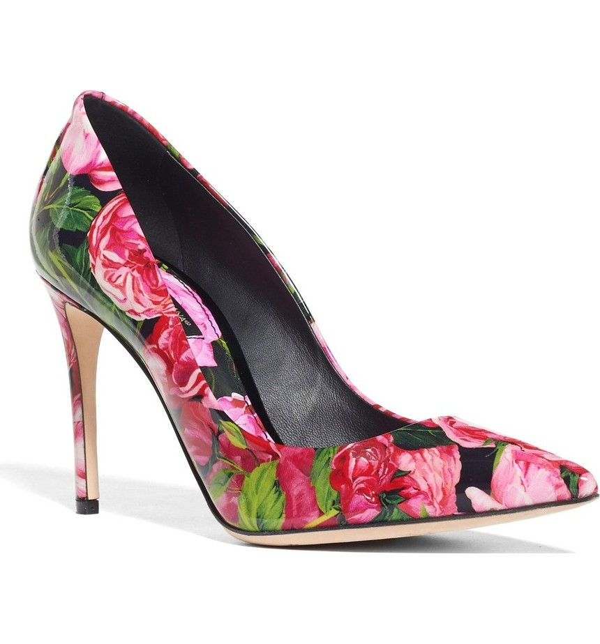 Dolce & Gabbana - Rose Print Pointy Toe Pump