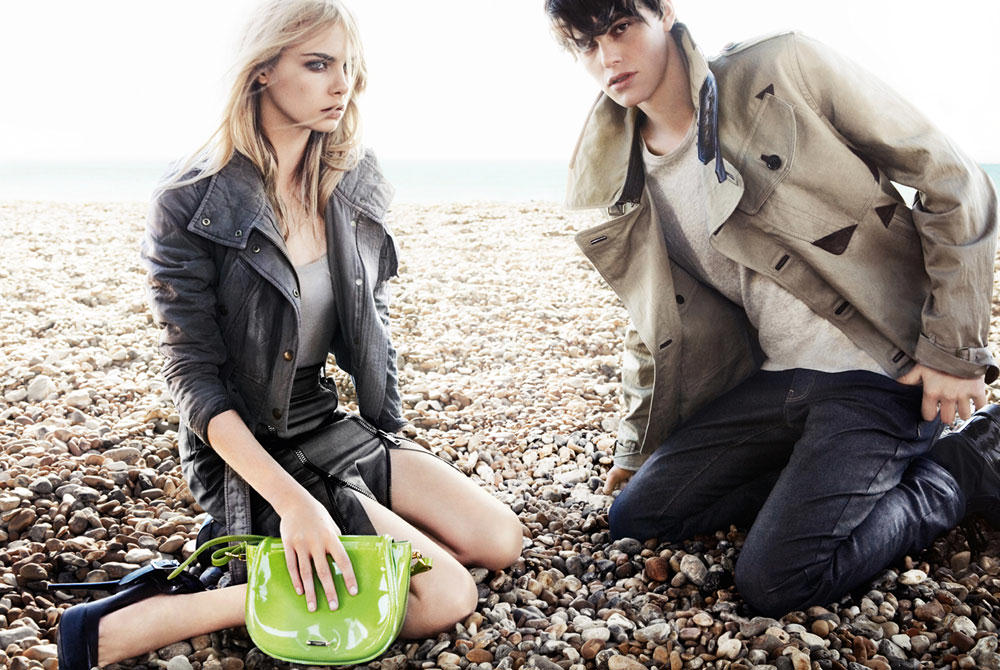 Cara Delevingne and Jacob Young in Burberry's 2011 campaign.