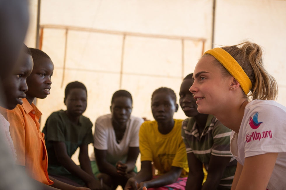 Delevingne in Uganda for Girl Up. Photo courtesy of marieclaire.com.
