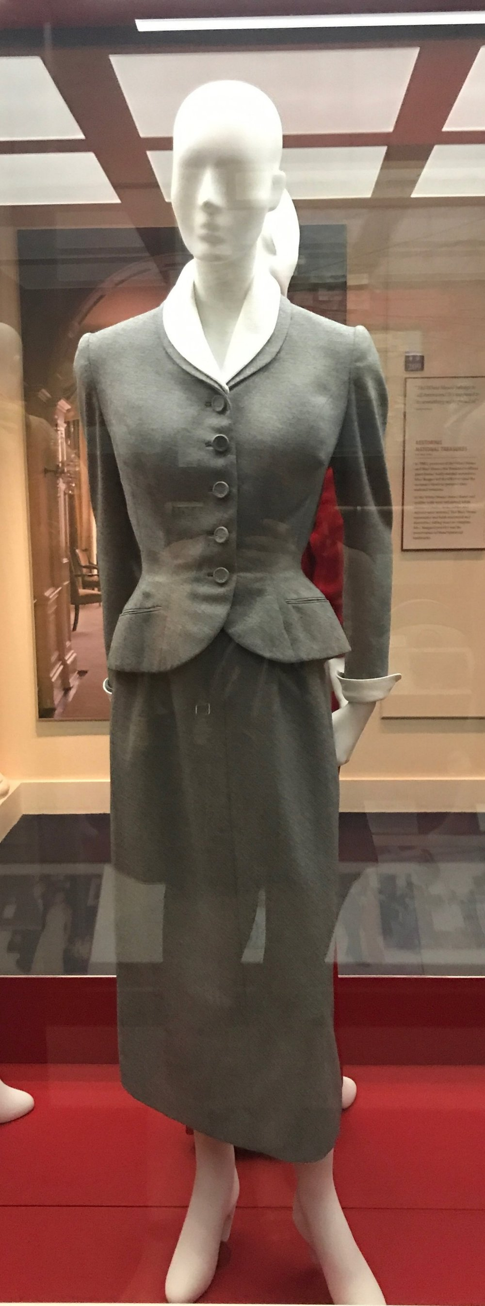 A simple gray wool suit, like the one Nancy Reagan wore to their wedding in 1952.