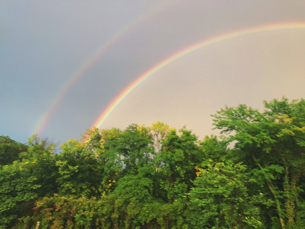 The trip ended with a double rainbow (ohmygod!) on our last stretch home. An homage to a great weekend.