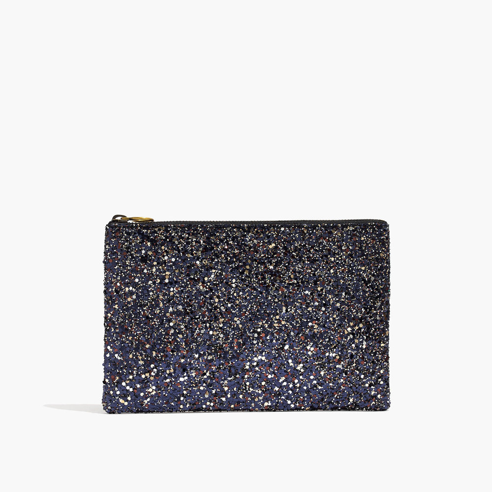 Madewell - Leather Pouch Clutch Glitter Edition