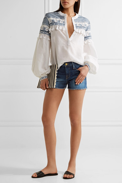 Frame le cutoff denim shorts.jpg