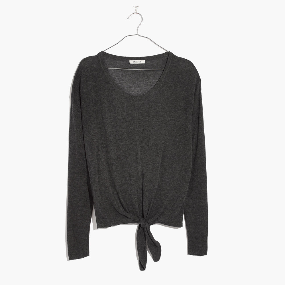 Madewell is always a go-to for our favorite sweaters and this little number with a tie-front is no exception.