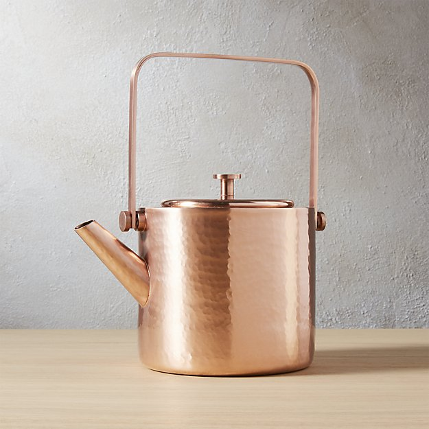 What more attractive way to warm up than with this copper teapot from CB2?