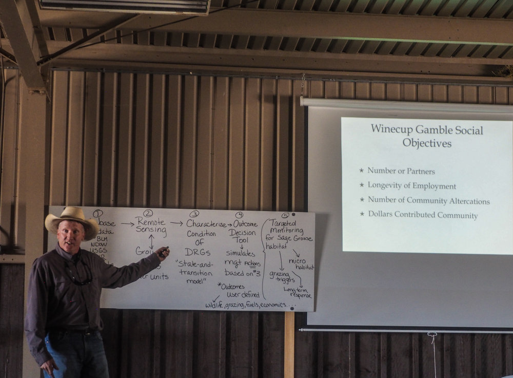 James Rogers, manager of the Winecup-Gamble Ranch, presents his unique approach the ranch's operation objectives.
