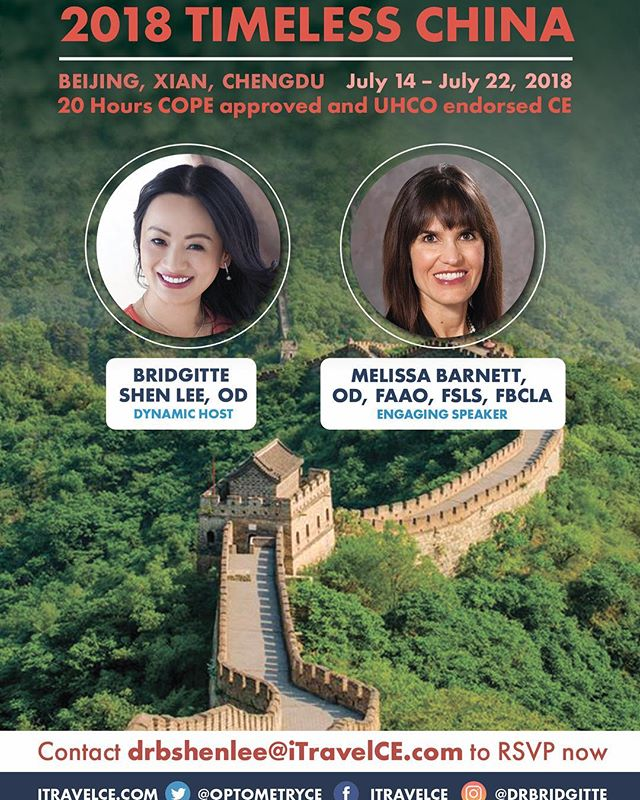 Is climbing the #GreatwallofChina on your #bucketlist? Join us! . 2018 Timeless China: www.iTravelCE.com/registration Dates: July 14 - July 22, 2018 20 Hours COPE & UHCO #OptometryCE Speaker: Dr. Melissa Barnett CE Program/Host:  Dr. Bridgitte Shen Lee . . #optometry #optometrist  #EscapeExplore #luxurytravel  #wanderlust #drd47r #instabeijing #beijinglife #iTravelCE #digitaleyedoc
