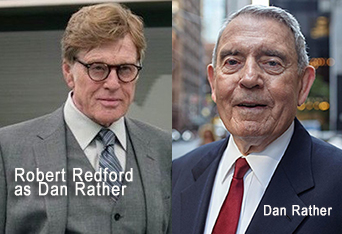 I couldn't even find an image of Dan Rather in glasses. Just Robert Redford playing him, wearing glasses. Image via  Jack Cashill