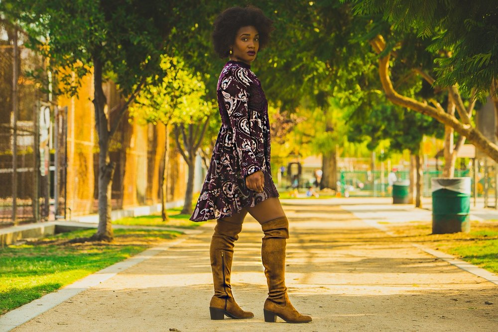 faux suede boots, free people tunic dress