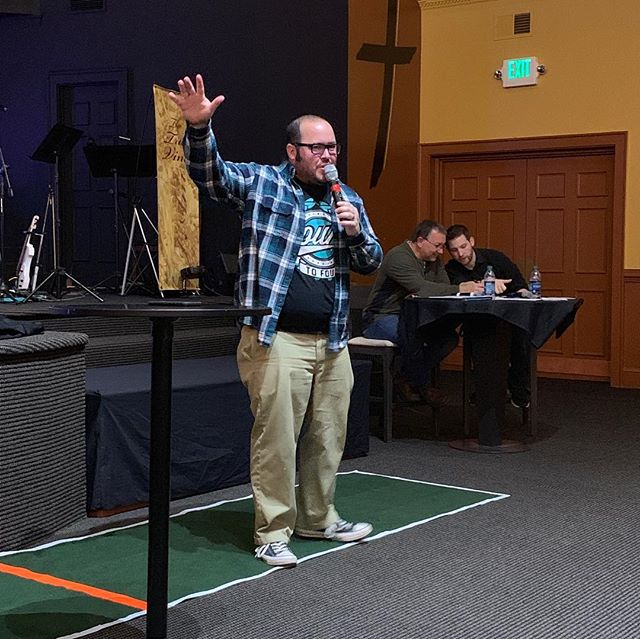 We had a blast last night at Superbowl Saturday! It was a great night for talking through our vision as a church, laughing at silly phrases, and rocking out to a fantastic halftime show! Congrats to @philipswatkins on retaining his Preaching Trophy again in 2019! Great game played by both he and Pastor Jeff! #stevesquared #superbowlsaturday #awakenvb #competetivepreaching