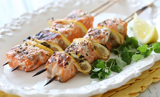 Lemony, herbaceous, grilled-to-perfection Salmon Kebabs
