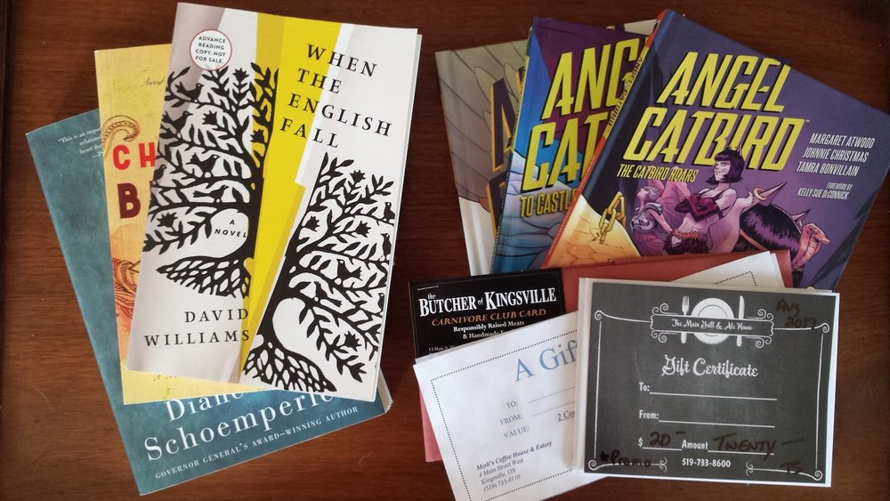 A sample of our prize giveaways, including gift certificates from Kingville's best establishments and new works by Margaret Atwood, Diane Schoemperlen, and others.