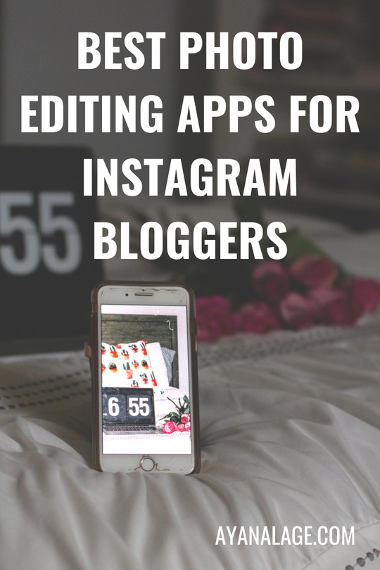 """iPhone resting on bed with MacBook pro and pink roses in the background. text on image says, """"Best photo editing apps for Instagram bloggers."""" Image on phone screen is a picture edited with Dreamy Presets and Filterloop."""