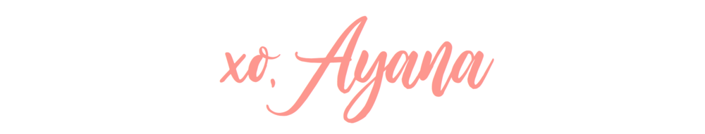 "Popular Tampa blogger Ayana Lage's blog header. It reads ""xo, Ayana"" in pink cursive font on a white background."