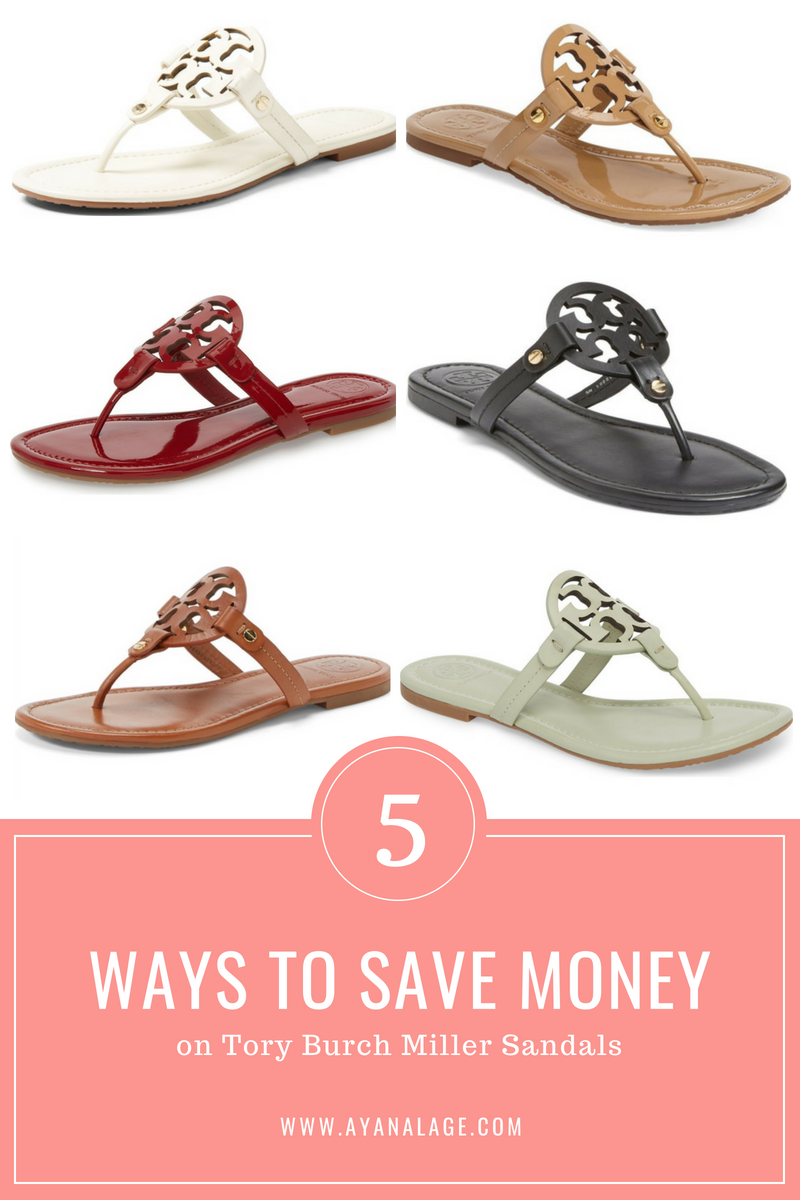 "white, vachetta, tan, black, red and mint green tory burch miller sandals. caption says, ""5 ways to save money on tory burch miller sandals"""