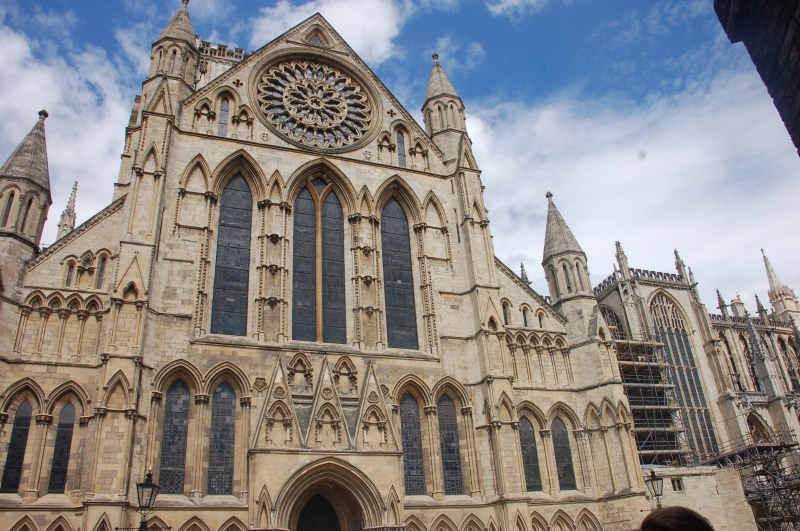 Facade of York Minster with Rose Window Above