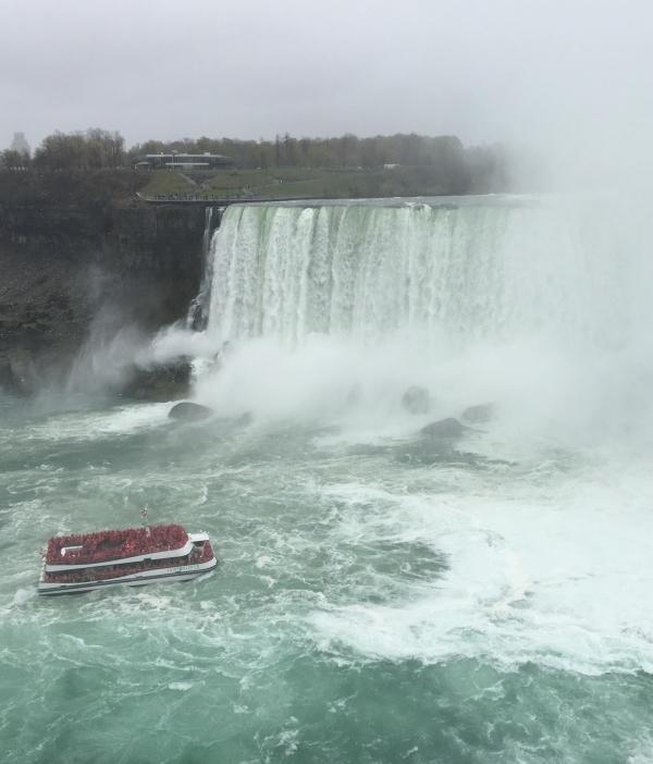 Hornblower Niagara Cruise boat approaching the Falls