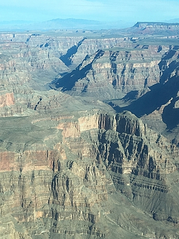 Our first glimpse of the Grand Canyon from plane