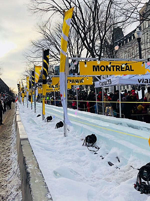 Finish of the Via Rail Ice Slide