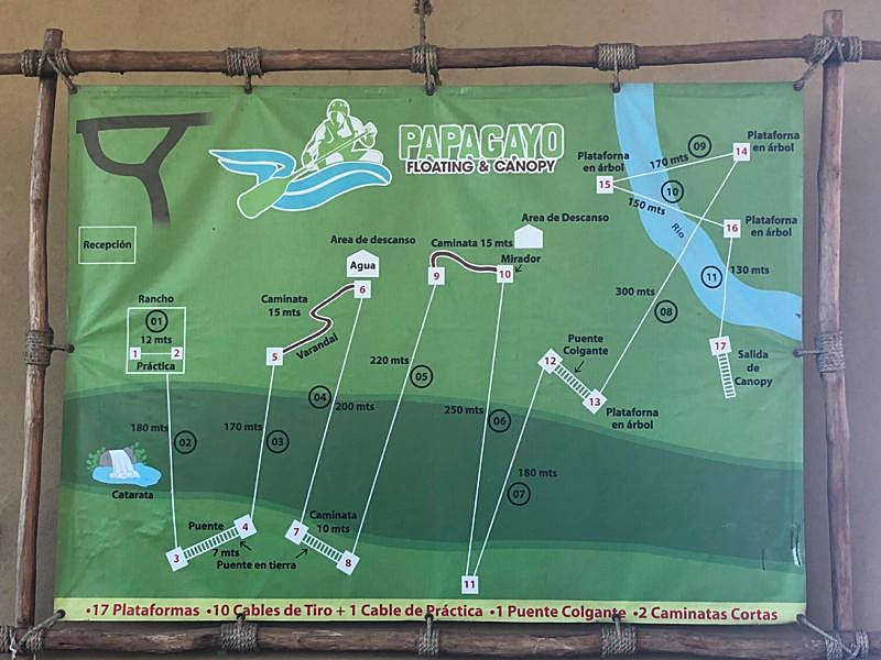 Map of Papagayo Canopy Zip Lines