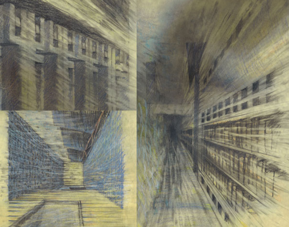 1. Ideas for 'Verandah House' 1986 (Pastel and Graphite on paper).  LS Collection, Ak.  (450 w x 960 h mm)