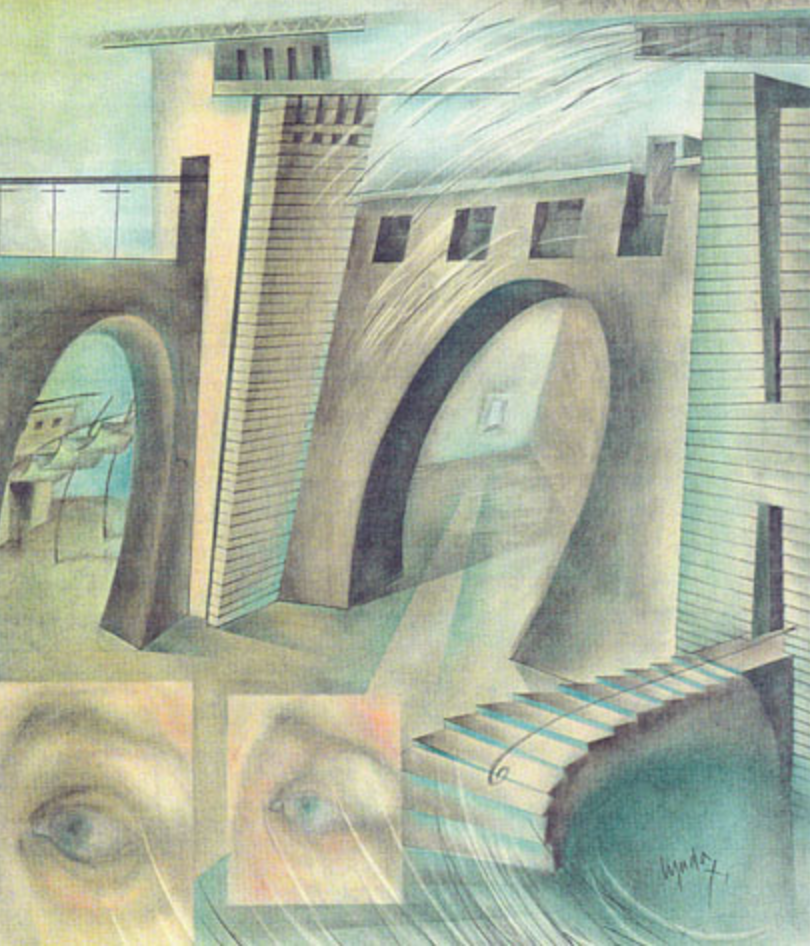 2. House for a Wedding 1995 (Pastel and Graphite on paper).  DH Collection, NYC.