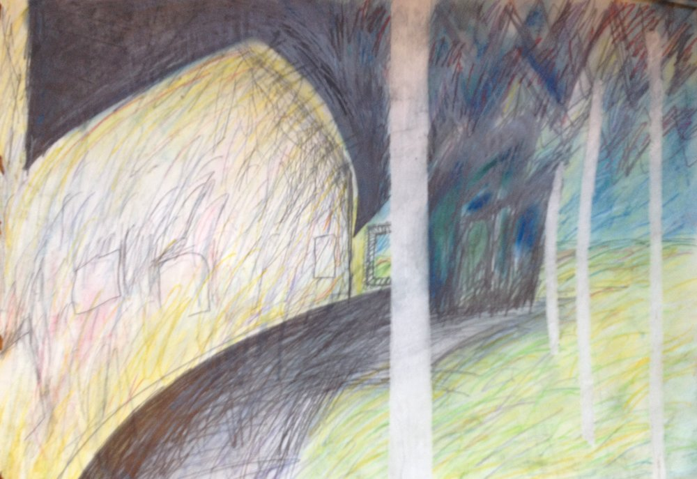 8. Gallery Interior 1985 (Pastel and Graphite on paper).  LS Collection, Ak.