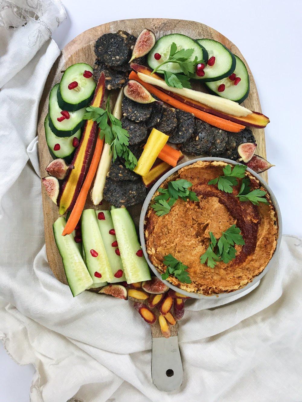 snack plate pumpkin hummus.JPG