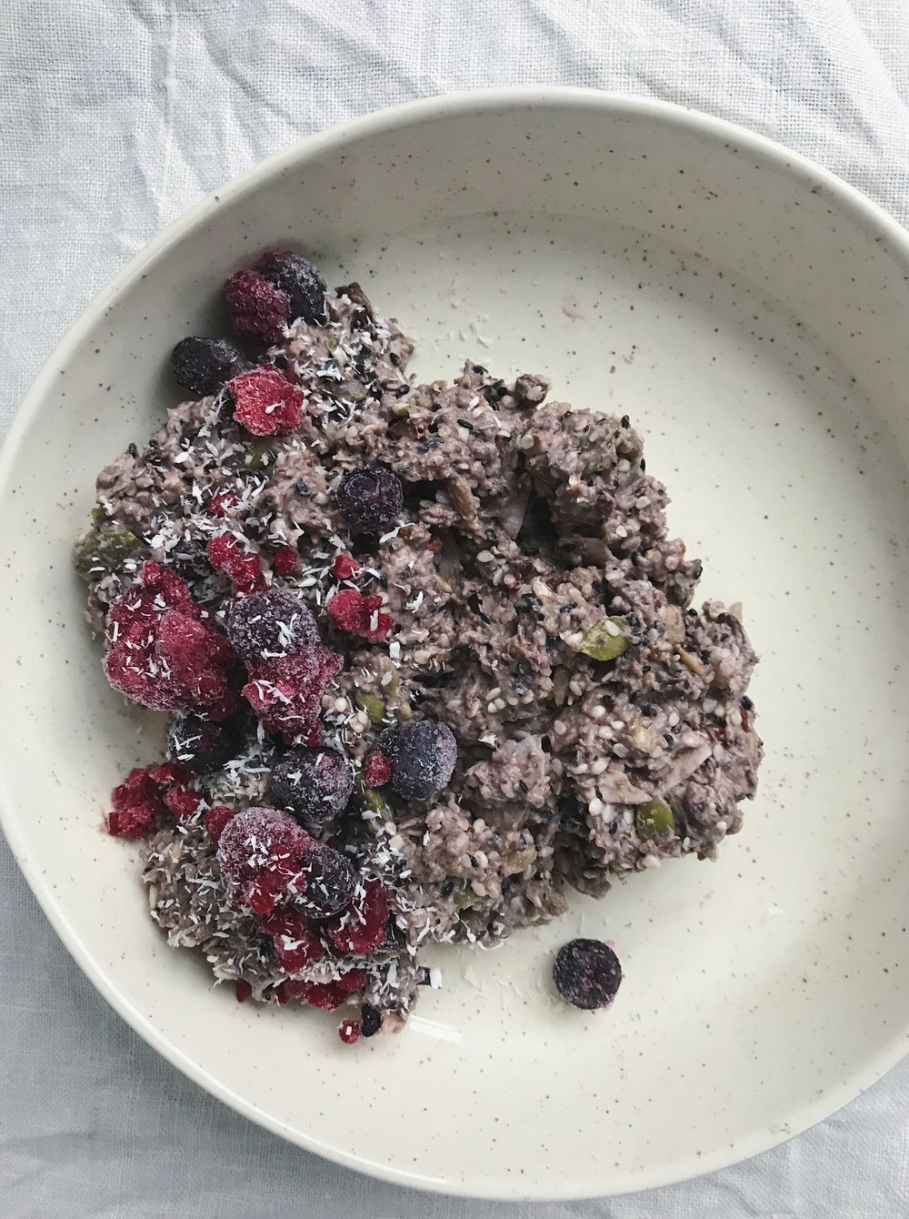 Blueberry Lavva mixed with my  Super Seed Muesli  and cinnamon.