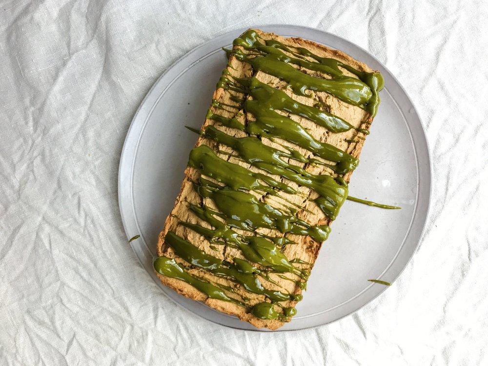 paleo cassava banna bread + matcha.JPG