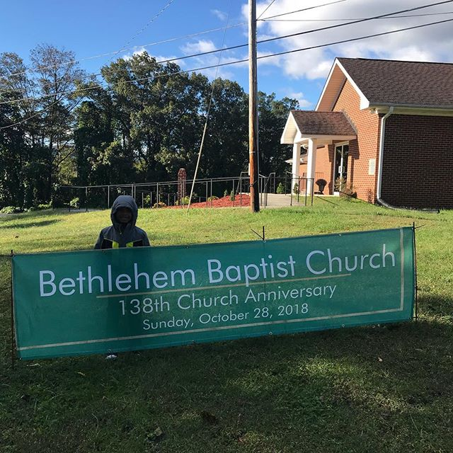 My little man,Micah, out early on a very cold Sunday morning helping me put up church signs for our 138th Anniversary.  Thanks little dude!  #bbc #fatherson #houseofbread