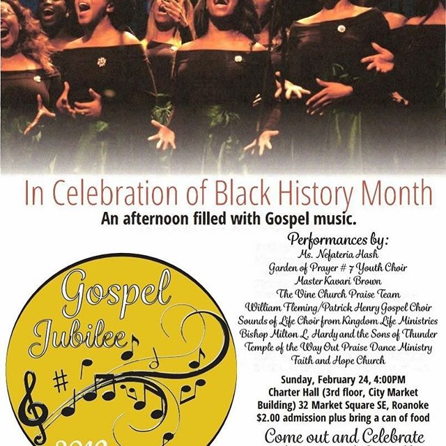 The New Virginia Economy with Mike Hamlar is excited to partner with ColorsVa and @downtownroanokeinc for the 3rd Annual Gospel Jubilee for Black History Month. Save the Date: Sunday, February 24, 2019 4:00 pm sharp at Charter Hall at the City Market Building. Please Share and we look forward to seeing you there! #newvaeconomy #blackhistorymonth