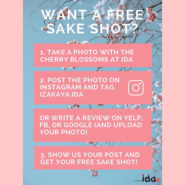 [EVENT] Come enjoy our cherry blossom-filled gastropub, eat delicious food, and win a free sake shot with ida this spring/summer 🌸 • • • #springevent #sake #cherryblossom #japanesefood #japanesegastropub #nyceats #nyc #upperwestside #food